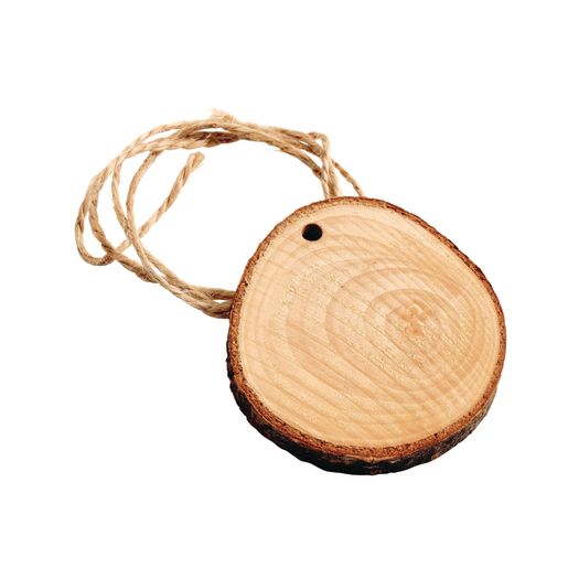 Natural Wood Slices, Pre-drilled, set of 24 with twine