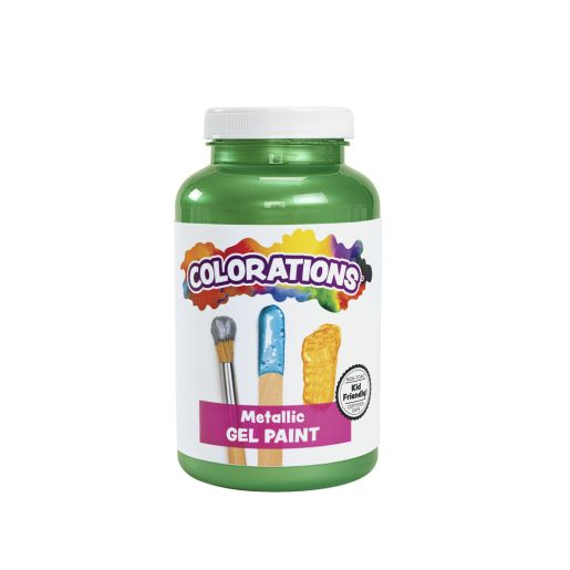 Image of Colorations Metallic Gel Paint, Green - 16 oz.