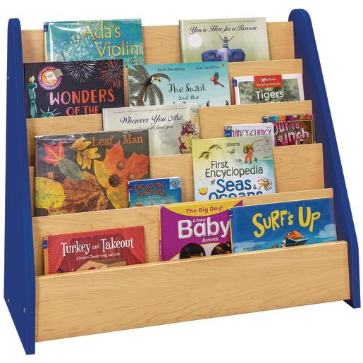 Single-Sided Book Display - Maple/Royal Blue, Assembled