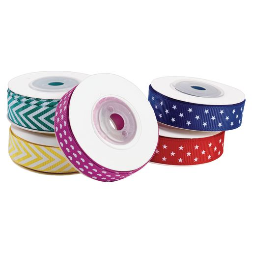 Fun Patterned Grosgrain Ribbon Set of 5