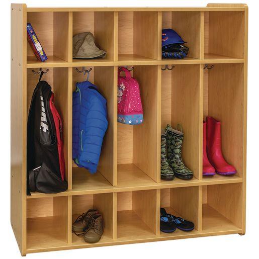 "48"" High 5-Section Locker - Maple/Maple, Assembled"