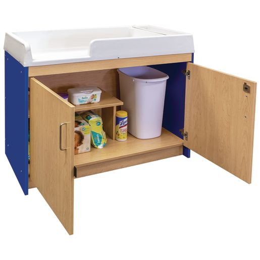 Infant Changing Table, Molded Top - Maple/Royal Blue