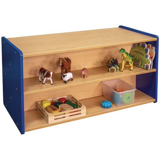 "24"" High Double-Sided Storage Unit - Maple/Royal Blue, Assembled"