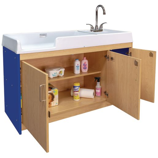Infant Changing Table with Right Side Sink - Maple/Royal Blue_0