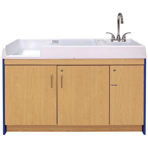 Infant Changing Table with Right Side Sink - Maple/Royal Blue