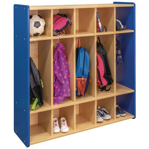 "48"" High 5-Section Locker - Maple/Royal Blue, Assembled"