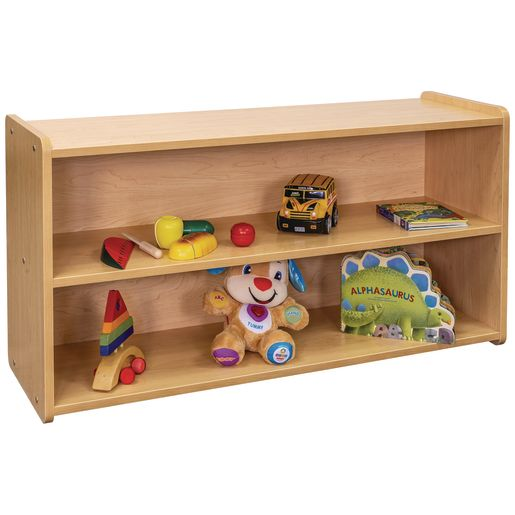 "2-Shelf Storage Unit, 24""H - Maple/Maple, Assembled"