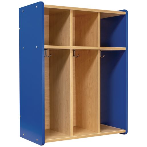 Image of Tot Mate 3-Section Locker - Maple/Royal Blue, Assembled
