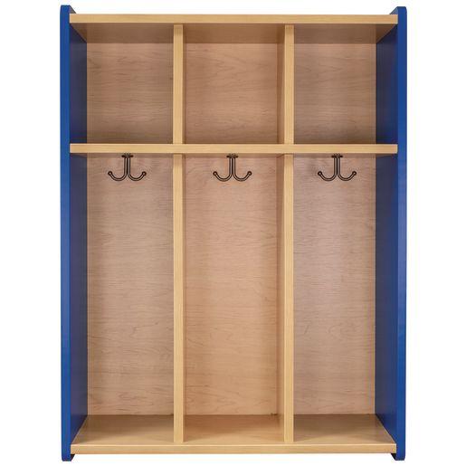 Tot Mate® 3-Section Locker - Maple/Royal Blue, Assembled