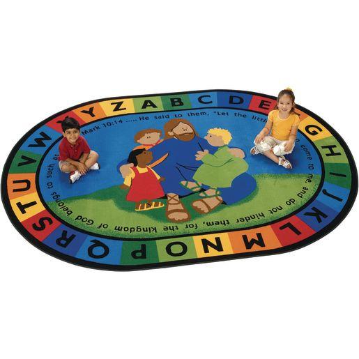 Jesus Loves the Little Children 8' x 12' Oval Kids Value PLUS Carpet