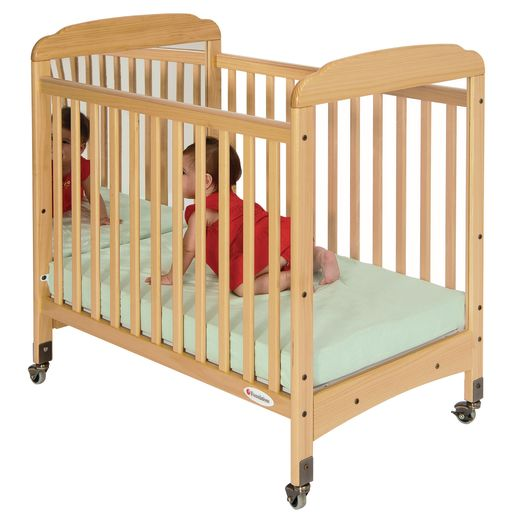 Image of Foundations Serenity Compact Fixed-Side Crib, Adjustable Mattress Board, Clear/Mirror ends, Natural Finish