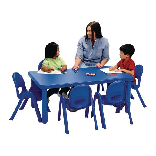 Image of Angeles MyValue Set - 28 x 48 Table with 6, 11H Chairs Blue