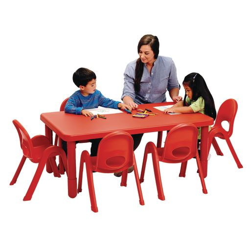 Image of Angeles MyValue Set - 28 x 48 Table with 6, 11H Chairs Red
