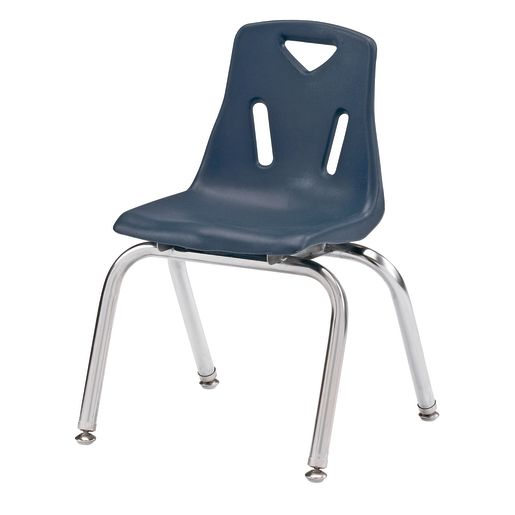 "Single 14"" Stacking Chairs with Chrome Legs - Navy"