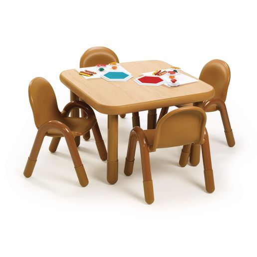 "Angeles® BaseLine Preschool Table & Chairs Set - 30"" Square in Natural"