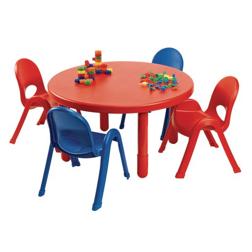 Image of Angeles MyValue Round Table with 4 Chairs Set - Red