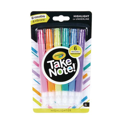 Image of Crayola Take Note! Erasable Highlighters Set of 6