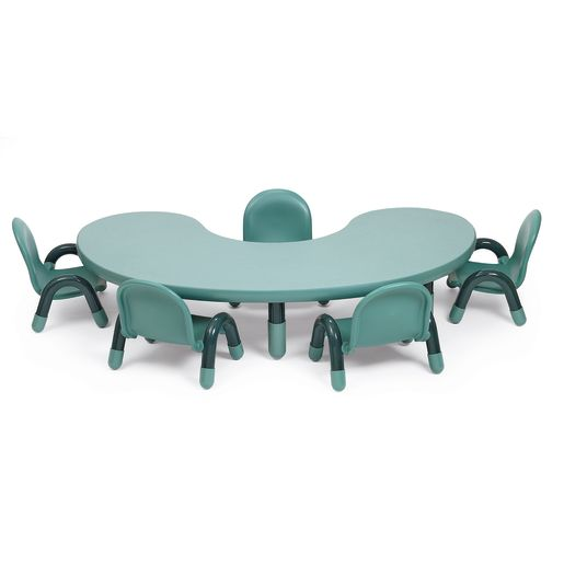 "38"" x 65"" Kidney BaseLine® Table, 18""H - Teal"