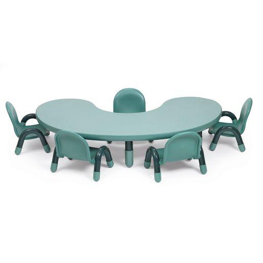 "38"" x 65"" Kidney BaseLine® Table, 24""H - Teal"
