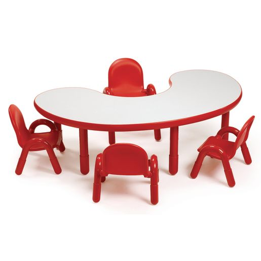 """38"""" x 65"""" Kidney BaseLine® Table, 16""""H - Red"""