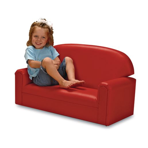 "Toddler Vinyl Sofa 8""H Seat Height - Red"