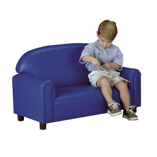 "Preschool Vinyl Sofa 12""H Seat Height- Blue"