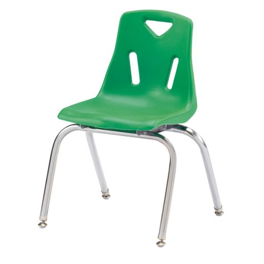 """Single 16"""" Stacking Chairs with Chrome Legs - Green"""