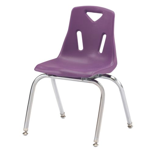 "Single 16"" Stacking Chairs with Chrome Legs - Purple"