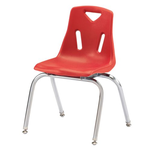 """Single 16"""" Stacking Chairs with Chrome Legs - Red"""