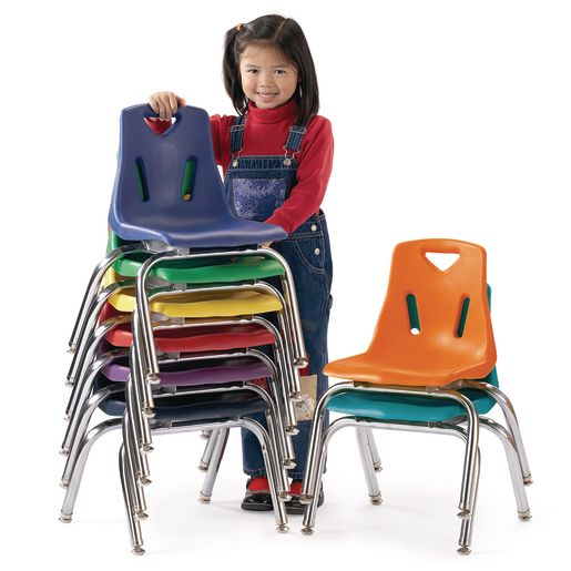 """Single 16"""" Stacking Chairs with Chrome Legs - Yellow"""