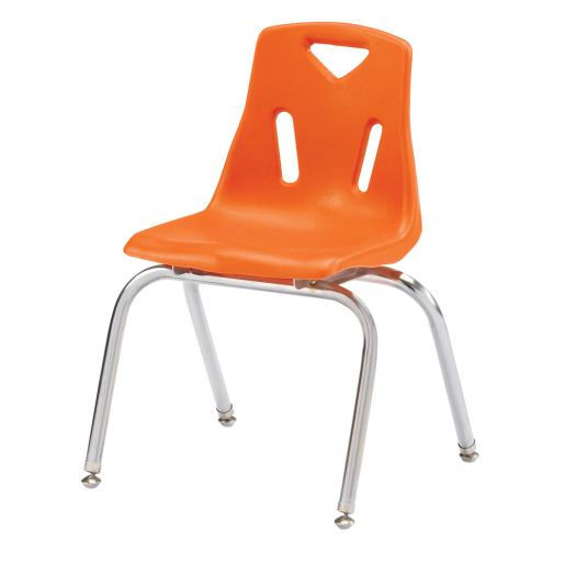"""Single 16"""" Stacking Chairs with Chrome Legs - Orange"""