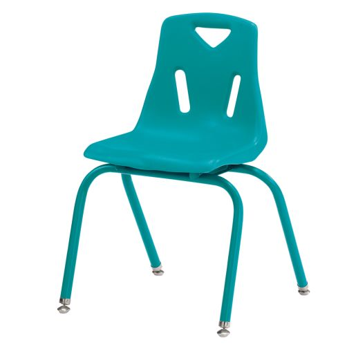 """Single 16"""" Stacking Chairs with Chrome Legs - Teal"""