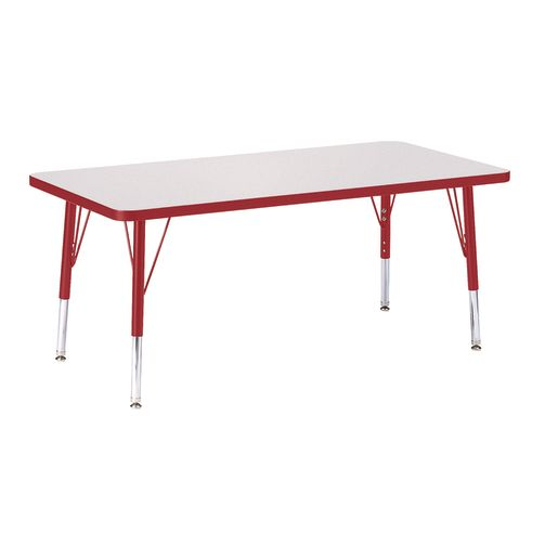 "Berries® 24"" x 48"" Rectangle Activity Table, 11"" - 15"" Leg - Red"