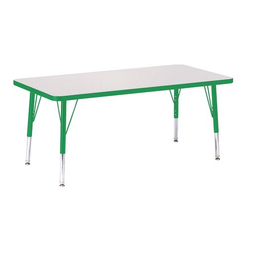"Berries® 24"" x 48"" Rectangle Activity Table, 11"" - 15"" Leg - Green"