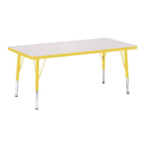 "Berries® 24"" x 48"" Rectangle Activity Table, 11"" - 15"" Leg - Yellow"