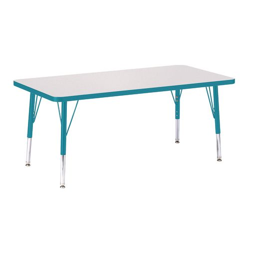 """Berries® 24"""" x 48"""" Rectangle Activity Table, 11"""" - 15"""" Leg - Teal"""