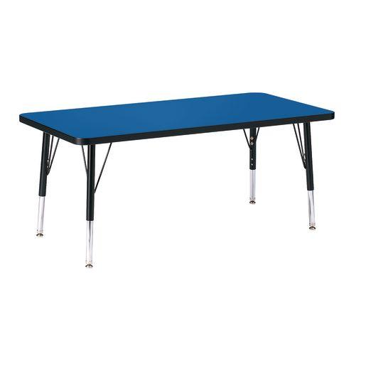"Berries® 24"" x 48"" Rectangle Activity Table, 15"" - 24"" Leg - Blue/Black"