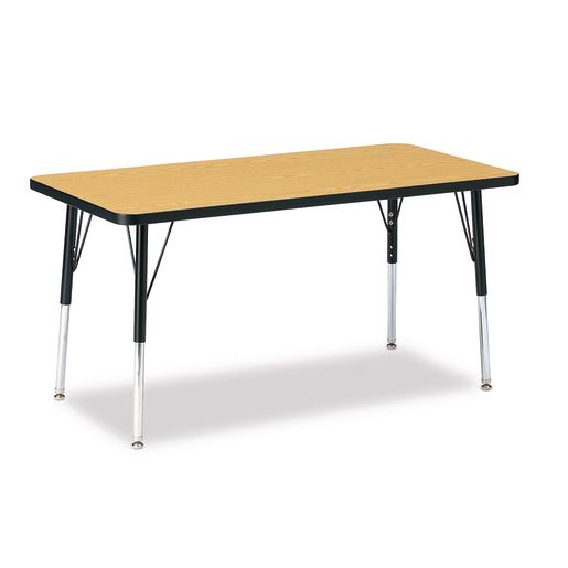 "Berries® 24"" x 48"" Rectangle Activity Table, 15"" - 24"" Leg - Oak/Black"