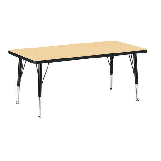 "Berries® 24"" x 48"" Rectangle Activity Table, 15"" - 24"" Leg - Maple/Black"