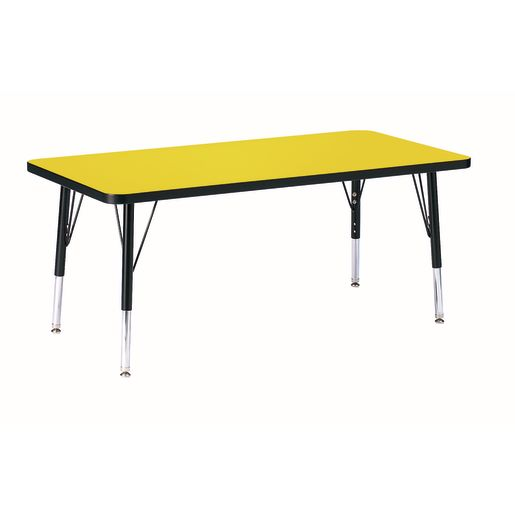 "Berries® 24"" x 48"" Rectangle Activity Table, 24"" - 31"" Leg - Yellow/Black"