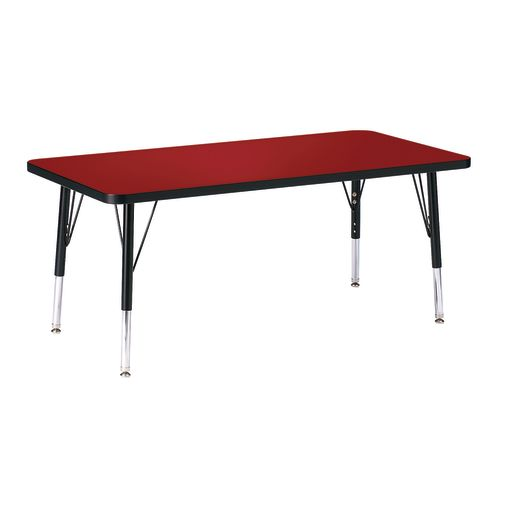 """Berries® 24"""" x 48"""" Rectangle Activity Table, 24"""" - 31"""" Leg - Red/Black"""