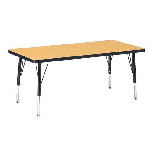"Berries® 24"" x 48"" Rectangle Activity Table, 24"" - 31"" Leg - Oak/Black"