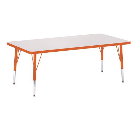"Berries® 30"" x 60"" Rectangle Activity Table,  11"" - 15"" Leg Height - Orange"