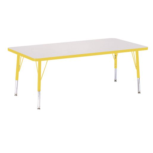 "Berries® 30"" x 60"" Rectangle Activity Table,  11"" - 15"" Leg Height - Yellow"