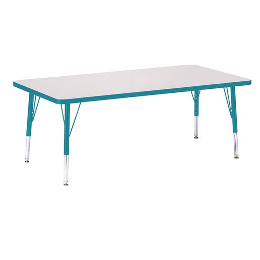 """Berries® 30"""" x 60"""" Rectangle Activity Table,  11"""" - 15"""" Leg Height - Teal"""