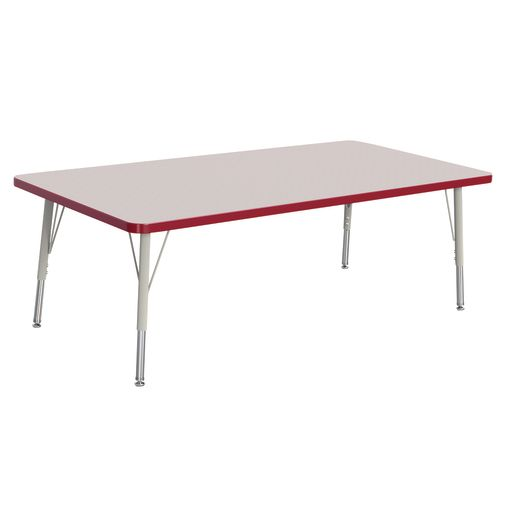 "Berries® 30"" x 60"" Rectangle Activity Table,  15"" - 24"" Leg Height - Red"