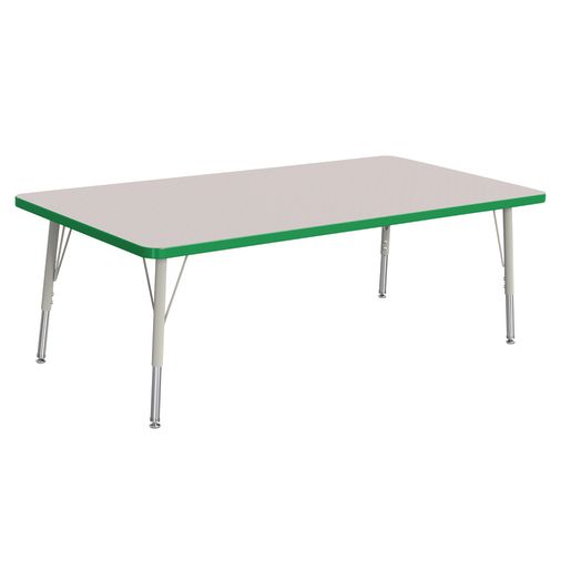 """Berries® 30"""" x 60"""" Rectangle Activity Table,  15"""" - 24"""" Leg Height - Green"""