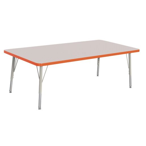 "Berries® 30"" x 60"" Rectangle Activity Table,  15"" - 24"" Leg Height - Orange"