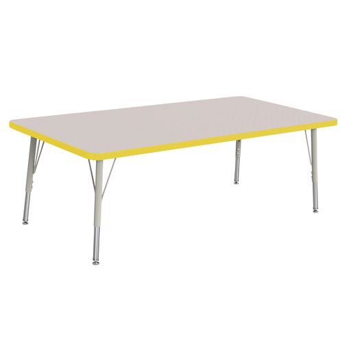 "Berries® 30"" x 60"" Rectangle Activity Table,  15"" - 24"" Leg Height - Yellow"