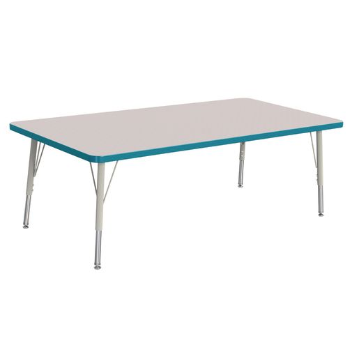"Berries® 30"" x 60"" Rectangle Activity Table,  15"" - 24"" Leg Height - Teal"